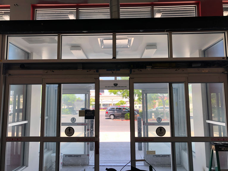 automatic sliding glass door installed for a business in Livermore