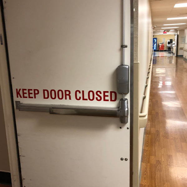 installation of a fire rated door in a medical facility in Fremont
