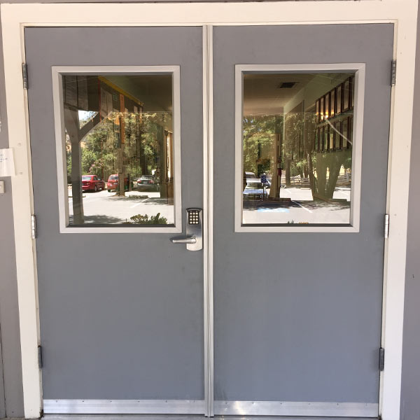 After replacing a metal double door