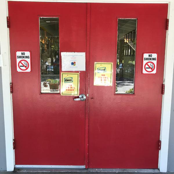 Before a metal door replacement for a school