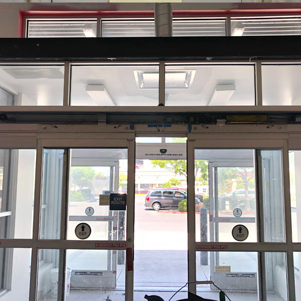 Storefront sliding glass automatic door installed for business in Dublin