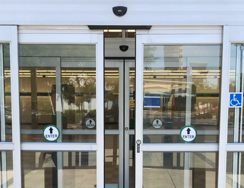 a recently installed automatic doors system