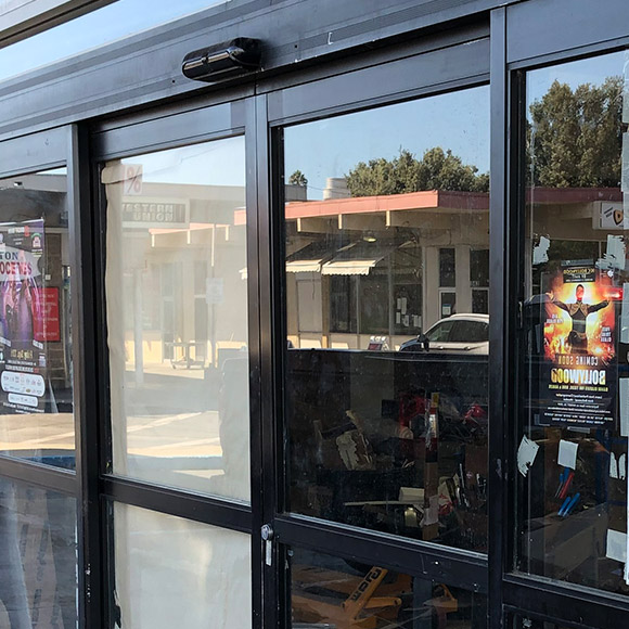 newly repaired automatic sliding door on grocery store